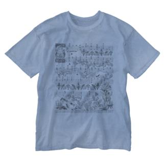 月猫のタブラチュア Washed T-shirts