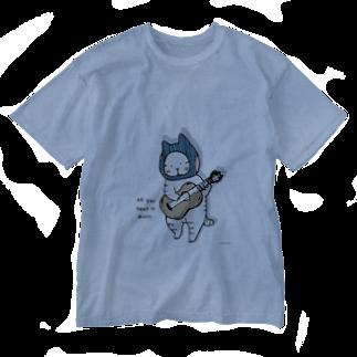 ほっかむねこ屋のギターねこ Washed T-shirts