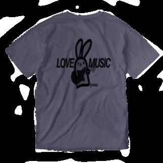 うさぎのらみゅうさのらみゅうさロック!バックプリント Washed T-shirts