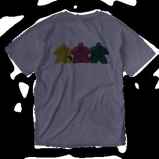 LucyDiamondのスリー・ミープルズ(横)バックプリント Washed T-shirtsの裏面
