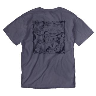 《ウォッシュ_両面Tシャツ》ニホンヤマネ_鳩羽色 Washed T-shirts
