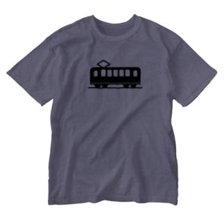 踏切電車 Washed T-shirts