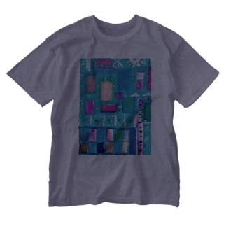 ターコイズスクエア Washed T-shirts