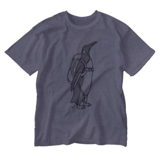 ペンギンスカイダイビング 動物イラスト Washed T-shirts