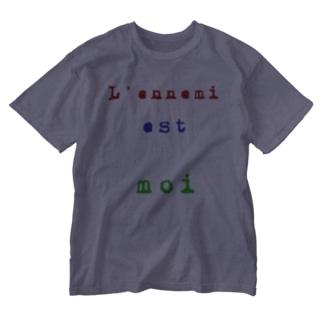 敵は我なり仏語 Washed T-shirts