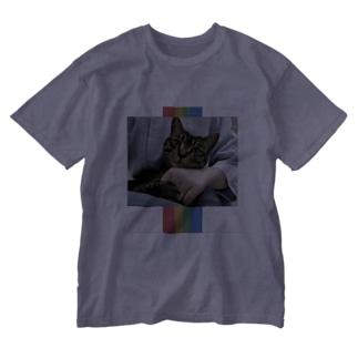盛れ猫チェキ風ver. Washed T-shirts
