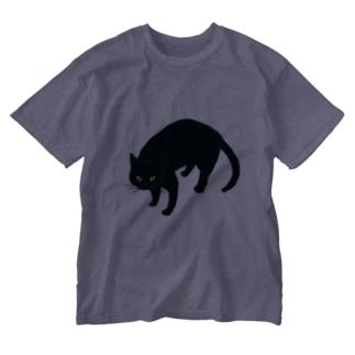黒猫さん Washed T-shirts