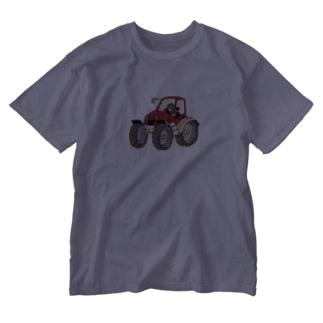 もぐらのおぐらさん トラクター Washed T-shirts