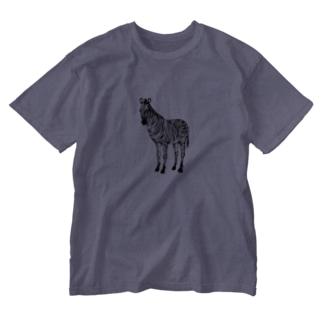 ハンコの縞馬 Washed T-shirts