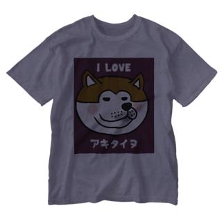 アイラヴ アキタイヌ Washed T-shirts