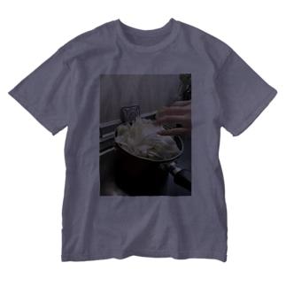 キャベツ炒めクッキング風景 Washed T-shirts