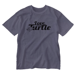 Love Turtel TypeA ブラックロゴ Washed T-shirts