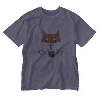 浅木愁太@LINEスタンプ販売中のタピ柴さん(赤柴) Washed T-shirts