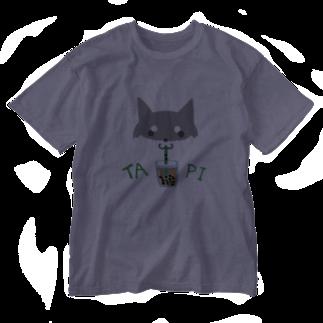 浅木愁太@LINEスタンプ販売中のタピ柴さん(黒柴) Washed T-shirts