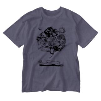 なまけものの夢 モノクロ Washed T-shirts