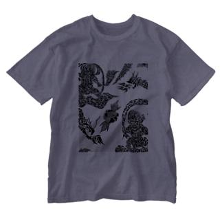 トライバル風神雷神龍神薔薇 Washed T-shirts