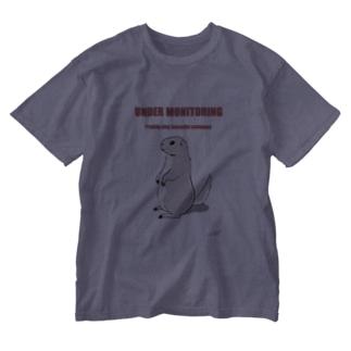 プレーリードッグ監視中(赤色) Washed T-shirts