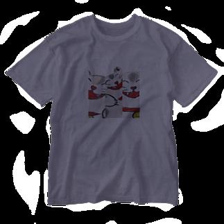 幸せを感じる猫の笑う門には猫来たる Washed T-shirts