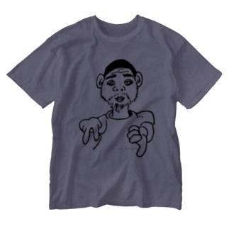 「ねこおじさん、イエイ」 Washed T-shirts