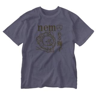 ネムれる獅子ゴールド Washed T-shirts
