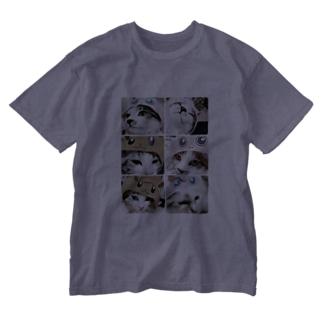 猫ちゃんの被り物 Washed T-shirts
