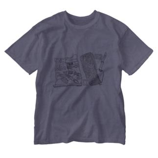 テレマークスキーでバックカントリーシリーズ ブーツとクライミングスキン Washed T-shirts
