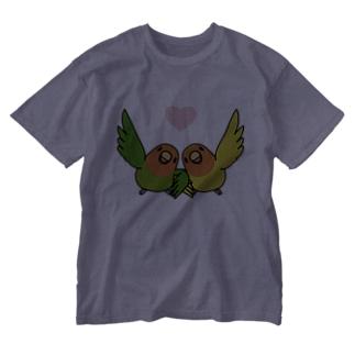 ハイタッチなかよしコザクラインコ【まめるりはことり】 Washed T-shirts