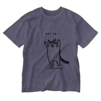 たちあがるねこ Washed T-shirts