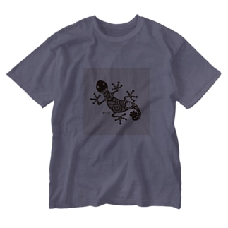 ヤモリ(geko) Washed T-shirts