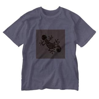 ヤモリ(暗茶) Washed T-shirts
