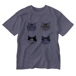 猫柄 Washed T-shirts