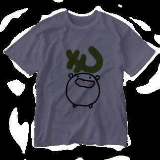 ダイナマイト87ねこ大商会の「も」をGETするねこです Washed T-shirts