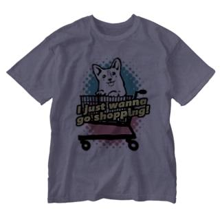 コーギー in ショッピングカート Washed T-shirts