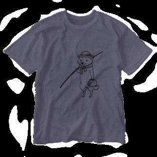 真希ナルセ(マキナル)の釣り柴(白柴) Washed T-shirts
