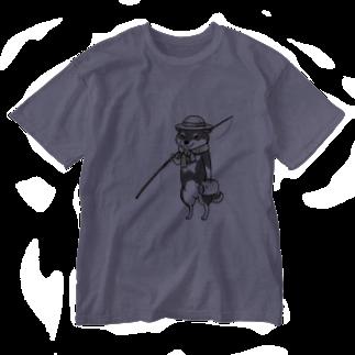 真希ナルセ(マキナル)の釣り柴(黒柴) Washed T-shirts