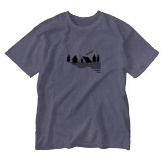 キャンプ2 ブラック Washed T-shirts