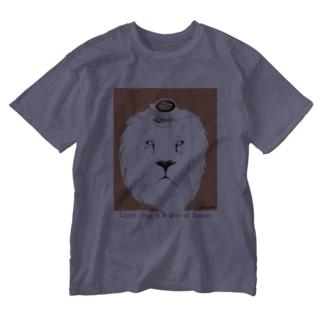 ライオン オレンジ Washed T-shirts