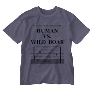 HUMAN VS. WILD BOAR / BKTXT Washed T-shirts