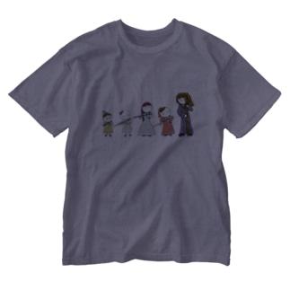 フルートファミリーwithアフロ女子 Washed T-shirts