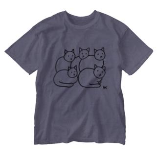 ねこちゃん5ひき黒ライン Washed T-shirts