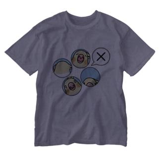 オカメインコばつ×【まめるりはことり】 Washed T-shirts