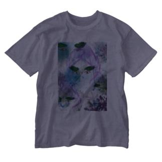 葉眉女子(透明) Washed T-shirts
