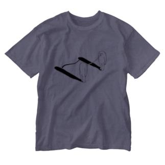 距離(モノクロ) Washed T-shirts