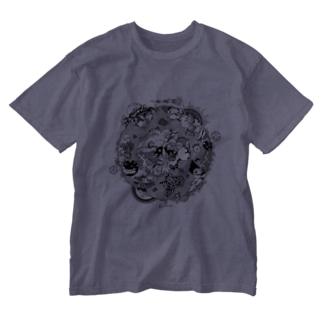 第三惑星第三者イラスト(黒) Washed T-shirts