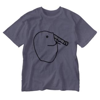 尺八を吹くミジンコ Washed T-shirts