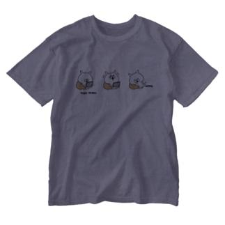 ゆるうさぎ 3コマおうち時間 Washed T-shirts