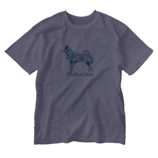 花 柴犬 Washed T-shirts