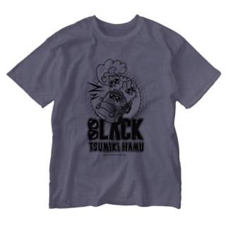 つみきハムショップのブンブンブラックつみきハム Washed T-shirts