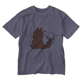 冒涜的な猫グア(背中色付き) Washed T-shirts
