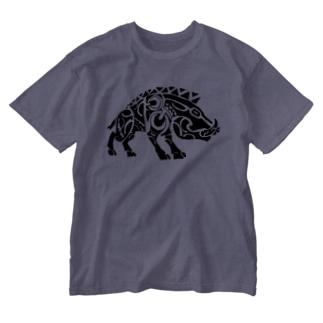 イノシシくん Washed T-shirts